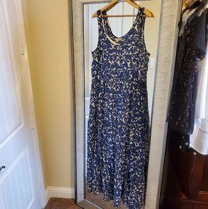Lucky Brand Maxi Dress XL Blue White Floral